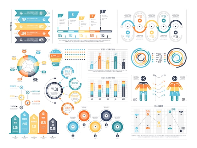 Set of colorful infographic diagrams