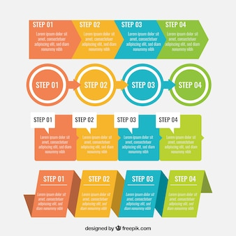 Set of colorful infographic steps