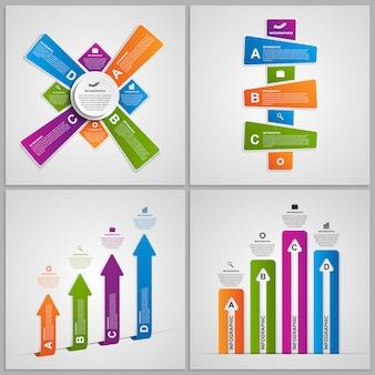 カラフルなインフォグラフィックデザイン要素を設定します。
