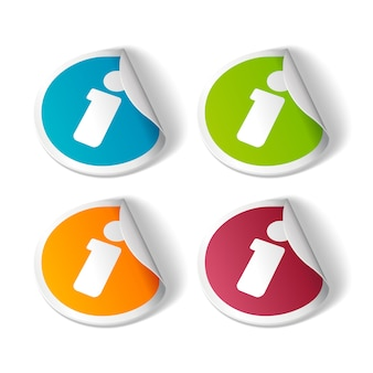 Set of colorful information stickers illustration