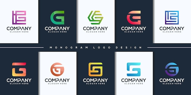Set colorful initial letter g logo design
