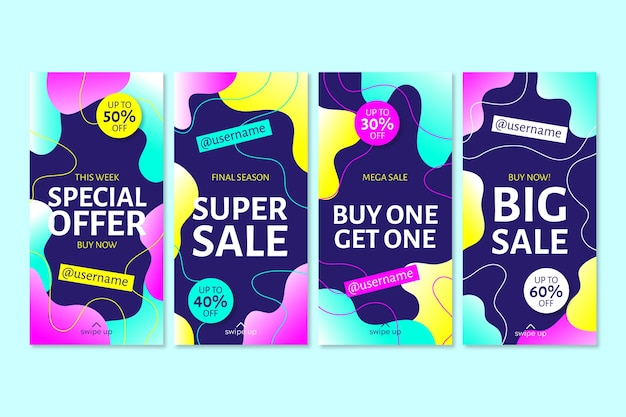 Set of colorful instagram sale stories