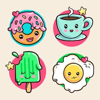 Set di cibo kawaii colorato