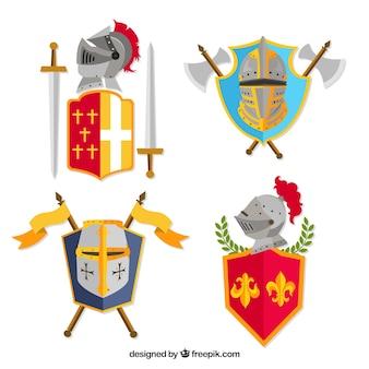 Set di emblemi colorati del cavaliere