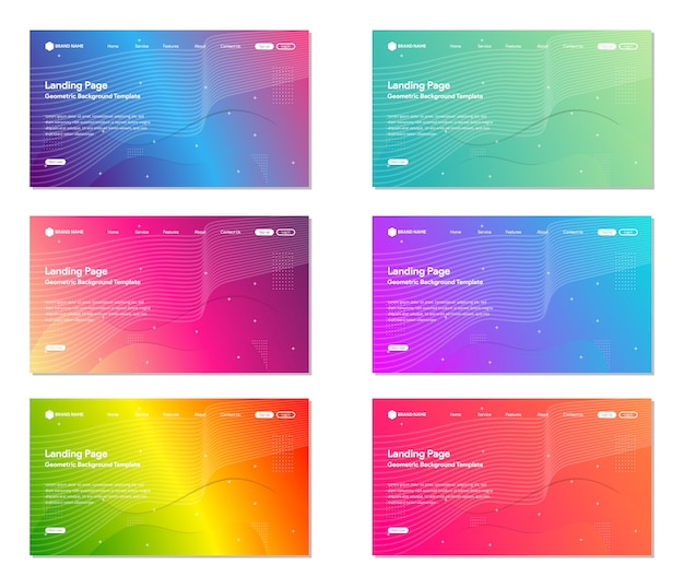 Set of colorful landing page website background, modern abstract style, line and wave