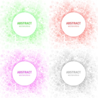Set of colorful light abstract circles frames design elements, cosmetics, soap, shampoo, perfume, medicament label background