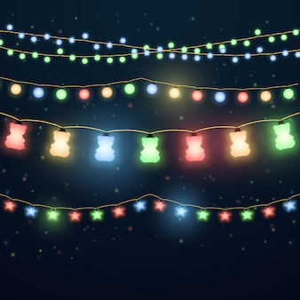 Set of colorful light garlands
