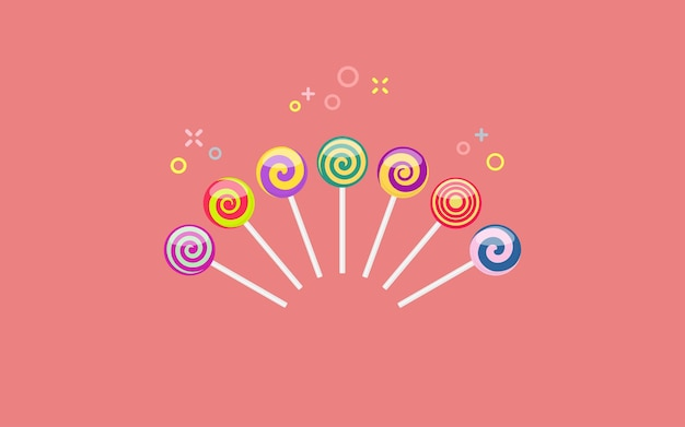 Set of colorful lollipop sweet candies with various spiral patterns. vector illustration on coral background