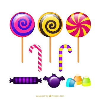Set of colorful lollipops and halloween candies