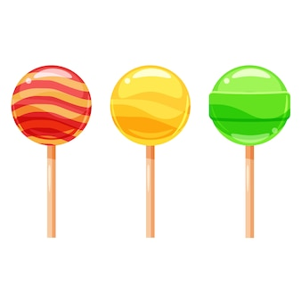 Set of colorful lollipops, sweet candies,  illustration, cartoon style