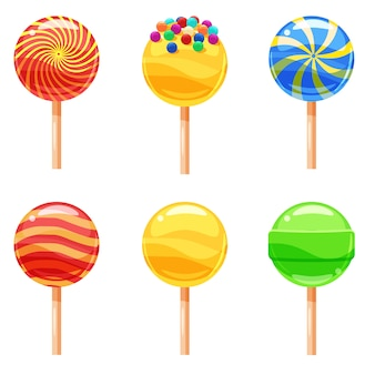 Set of colorful lollipops, sweet candies