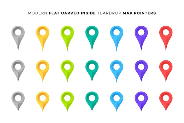 Set of colorful map markers.