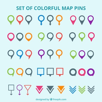 Set of colorful map pins
