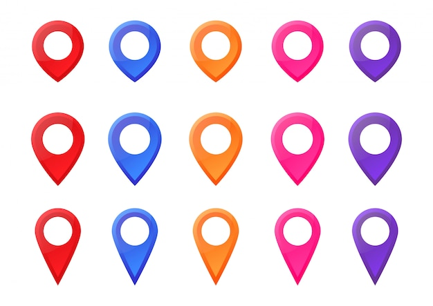 Set colorful map pointer location pin icon marker vector illustration.