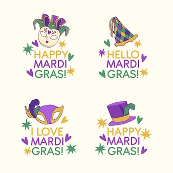 Set of colorful mardi gras badges