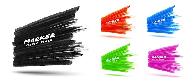 Set of colorful marker stroke stain texture background in perspective. grunge textured sale banner.