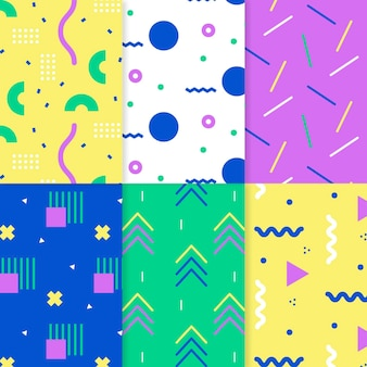 Set of colorful memphis patterns