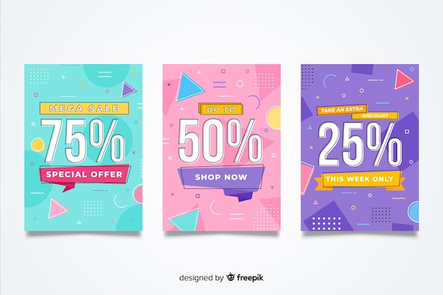 Set of colorful memphis sales banner