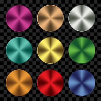 Set of colorful metal shape circle
