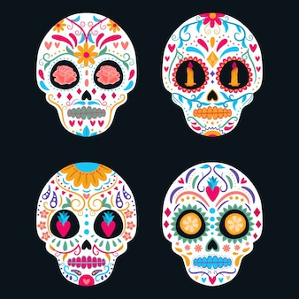 Set of colorful mexican skull. day of the dead, dia de los muertos