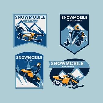 Set of colorful modern winter snowmobile emblems, badges