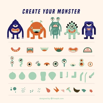 Set of colorful monsters in flat style