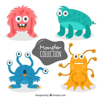 Set of colorful monsters in hand drawn style