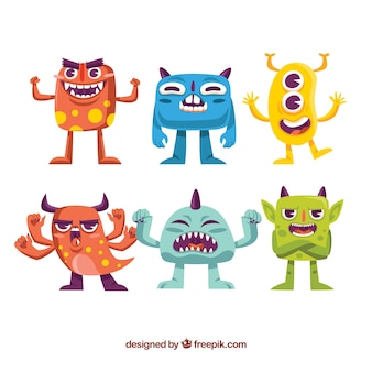 Set of colorful monsters