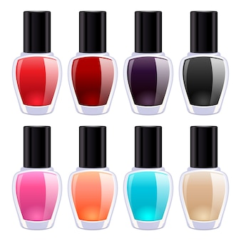 Set of colorful nail polish bottles. cosmetic product.