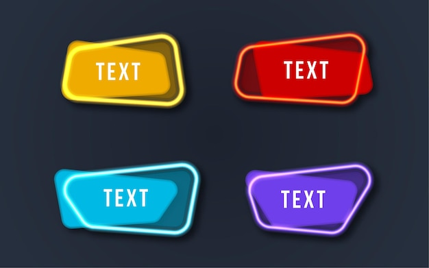 Set colorful neon banner text