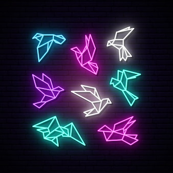 Set of colorful neon geometric dove.