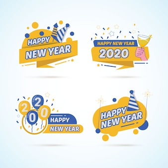 Set of colorful new year 2020 on stickers label design