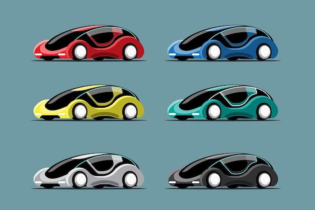 新しい革新的なハイテク車のカラフルな漫画スタイルの描画、青い背景の上の平らなイラストを設定します。