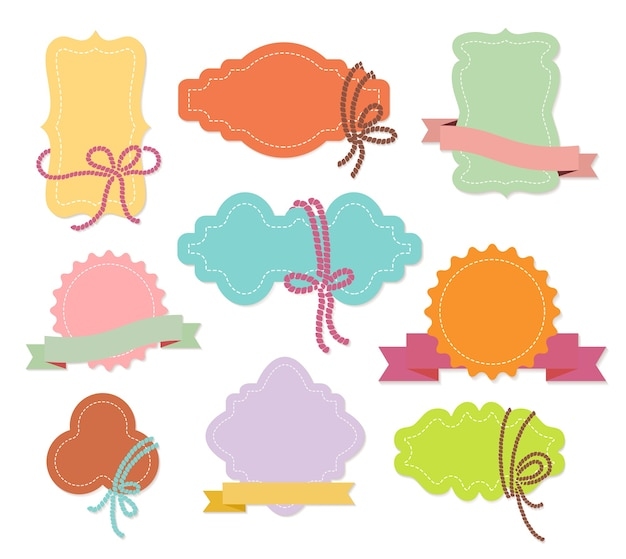 Set of colorful ornamental labels or tags with ribbons in nine different shapes with copyspace