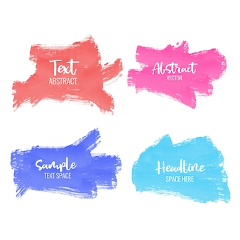 Set of colorful paint brush stroke