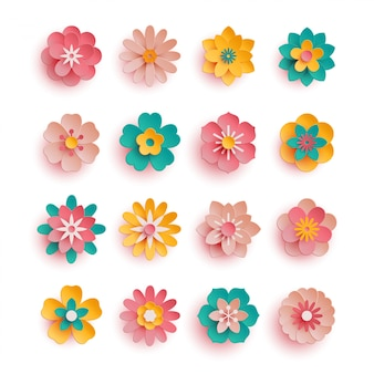 Set of colorful paper flower