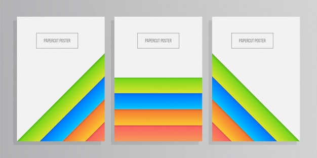 Set of colorful paper geometric background with papercut style
