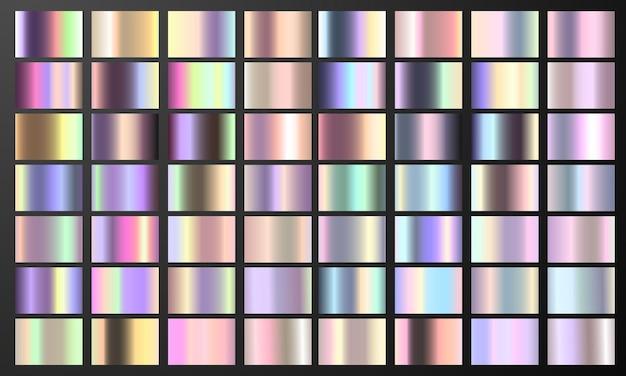 Set colorful pastel gradient chrome color foil texture background