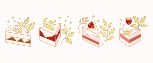 Set of colorful pastry, cake, and bakery elements with strawberry and leaf branch for clipart & logo design