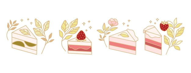 Set of colorful pastry, cake, bakery elements with strawberry and leaf branch for clipart & logo design