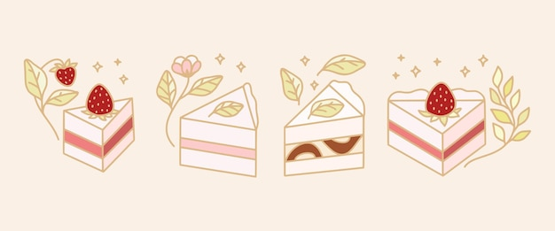 Set of colorful pastry, cake, and bakery  logo template