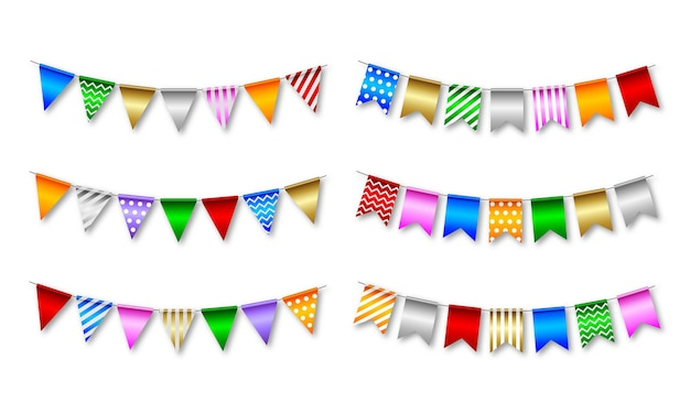 Set of colorful pennants. isolated flags for birthday and party
