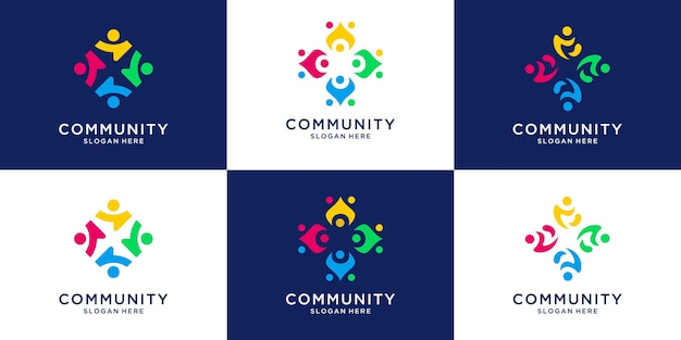 Set of colorful people human together family unity logo collection.