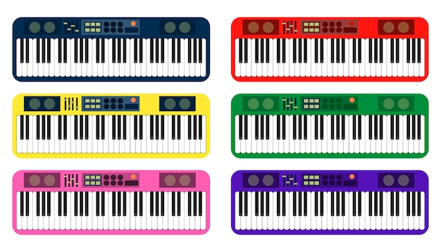 Set of colorful piano on white background