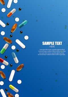 Set of colorful pills and capsules banner