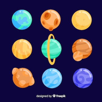 Set of colorful planets in the solar system