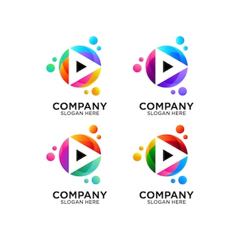Set colorful play button with bubbles logo design