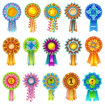 Set of colorful prize rosettes.