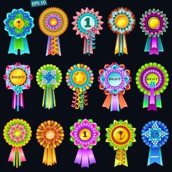 Set di rosette premio colorate.