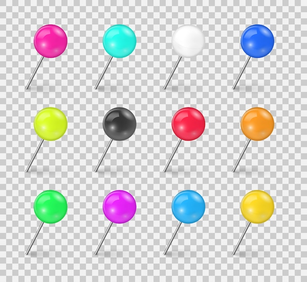 Set of colorful push pin tack in different foreshortening isolated on transparent background. sewing needle or plastic push pins tacks for paper notice. realistic thumbtacks. illustration
